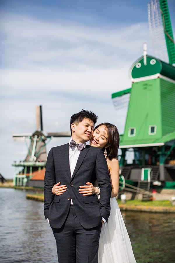 prewedding photography zaanse schans windmills